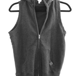 Charcoal zip vest with hood